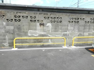 ブロック塀の修理の様子