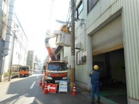 高圧電線の保護作業の様子