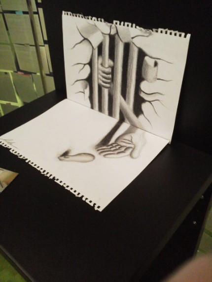 鉛筆で描く立体アート2